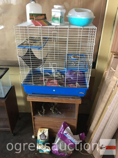 "Lg. Chinchilla ""Super Pet"" cage w/supplies, wood chews, dust bath, dust, bedding, food, waterer"