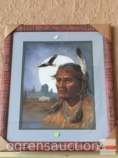 "Artwork - decor print, ornate framed & matted Indian, 23""wx27.5""h"