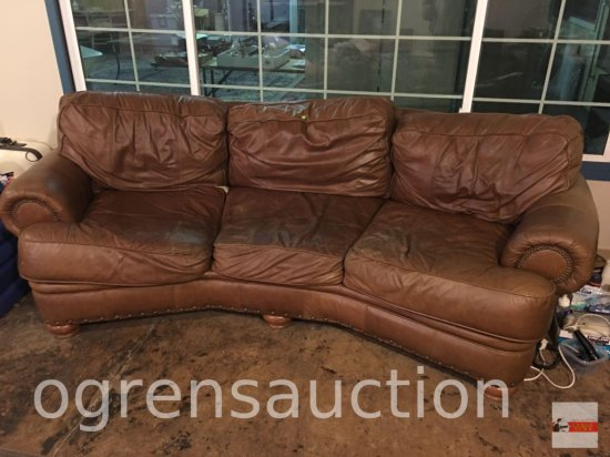 Sofa - Leather 3 section curved sofa, wood bun feet