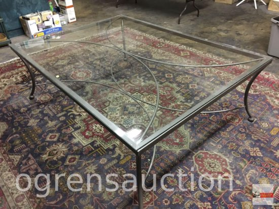 "Very Lg. Beveled glass top w/ metal base coffee table, 66""wx48""wx22.25""h"