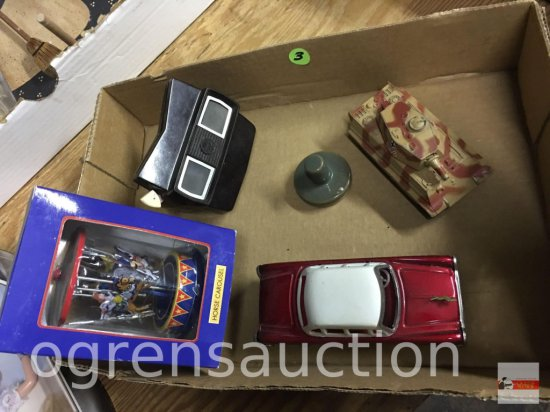 Toys - Car, carousel, Viewmaster, tank