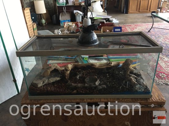 "Reptile tank, 30.5""wx12.5""dx13.5'h with heat light and misc."