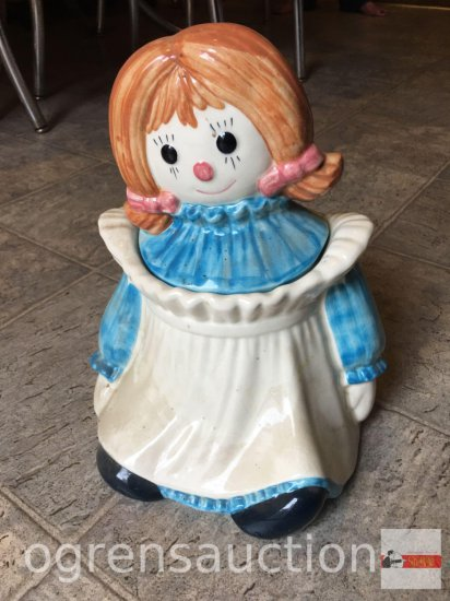 "Cookie Jar - Rag doll, marked under glaze, 11""hx9""w"