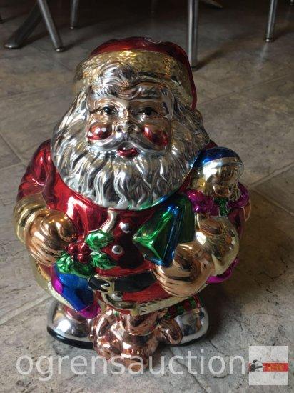 "Cookie Jar - Santa Clause, Style-eyes, mercury glass, 9""hx7""w"