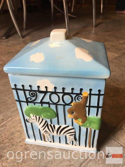 "Cookie Jar - Zoo motif, 10""hx6.75""wx5""d"
