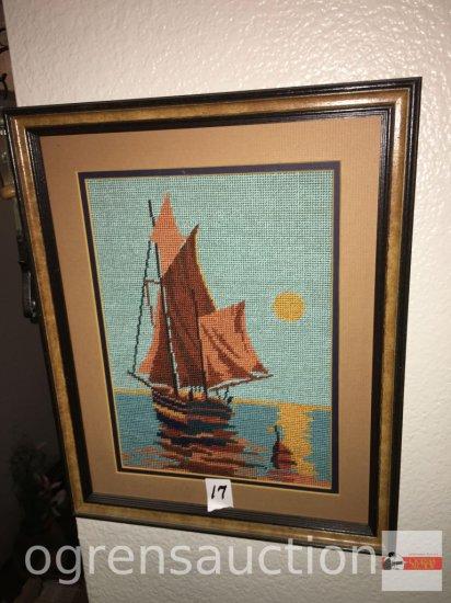 Artwork - Needlepoint, sailing ship,