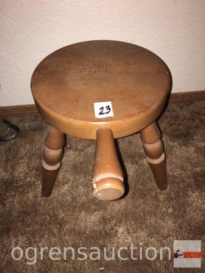 """Furniture - milking stool, 3 legged, 11.5""""h"""