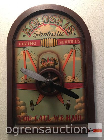 """Sign - wall decor, arched top, Koloskis Fantastic Flying Services, cast iron plane propellor, 27""""h"""