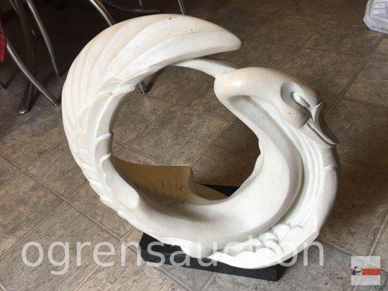 "Statue - lg. Swan on marble base, Austin Prod. Inc. 1989, Adanel, 20.5""hx16""wx9""d"