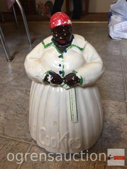 "Cookie Jar - McCoy Mammie Black Americana, chip on bottom, 11.5""hx8""w"