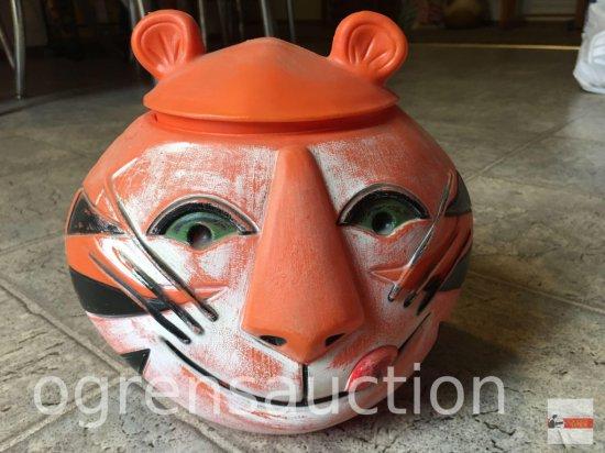 "Cookie Jar - 1968 Plastic Tony the Tiger, vintage Kellogg's cookie jar, 7.5""hx8.5""w"