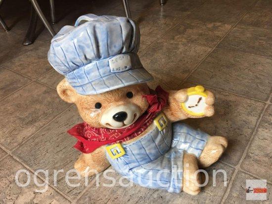 "Cookie Jar - Treasure Craft, Cookie Express Bear train conductor, 12""hx12""w"
