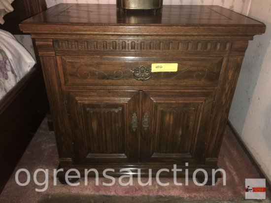 "Furniture - Nightstand, Ethan Allen, dark oak, 2 drawer, 2 door, bun feet, 28""wx17""dx27""h"