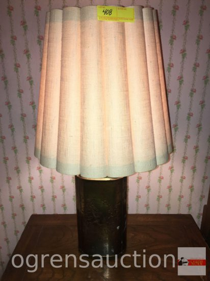 "Lamp - Brass table lamp, tooled design, pleated linen cylindrical flared shade, 31""h"