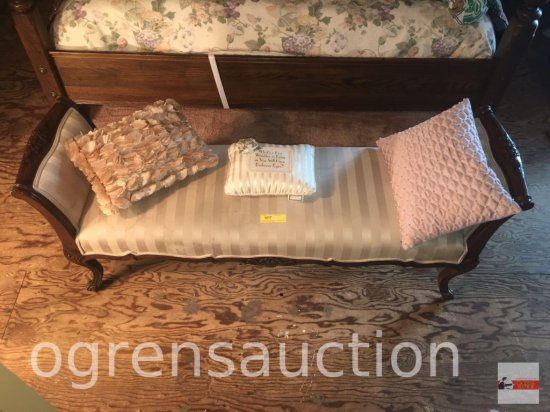 "Bed bench, 60""wx18""w, wood framed, queen anne legs, upholstered"