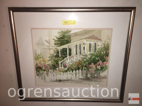 "Artwork - Watercolor by Iona Hepper, Garden House, framed & matted, 31""wx27""h"