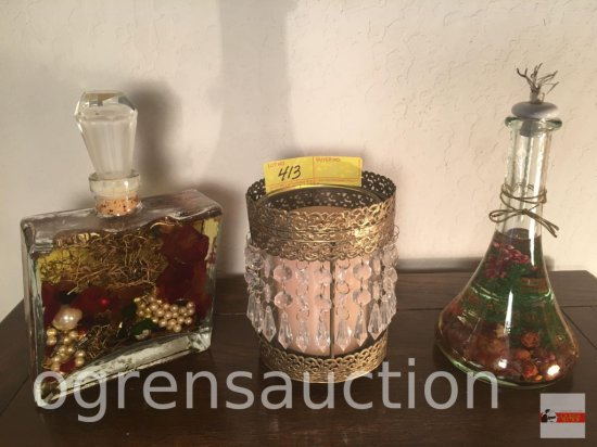 "Decor - 2 oil bottles and 1 candle holder with prisms, 6'h, 9""h, 9.5""h"