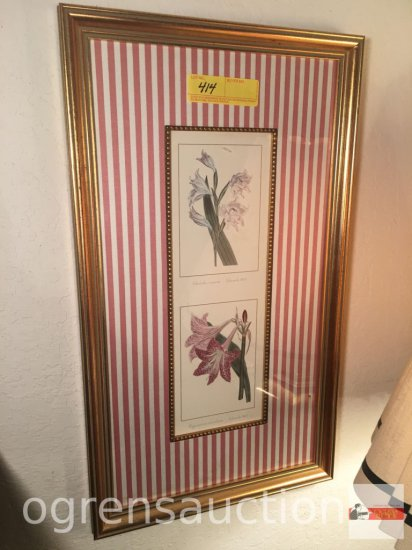 "Artwork - Floral prints, framed and matted, 13.5""wx23.5""h"