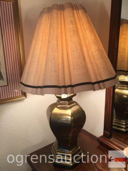 "Brass table lamp w/ pleated shade, 33""h"