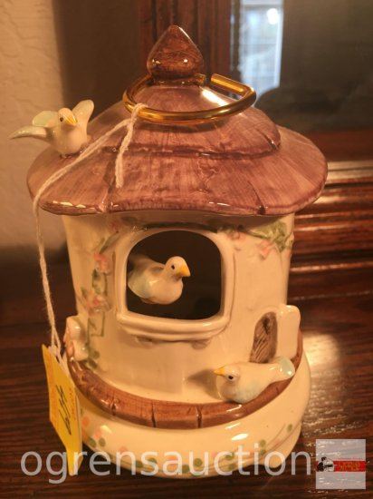 "Schmid figural music box, Yellow Bird, 6.5""h"