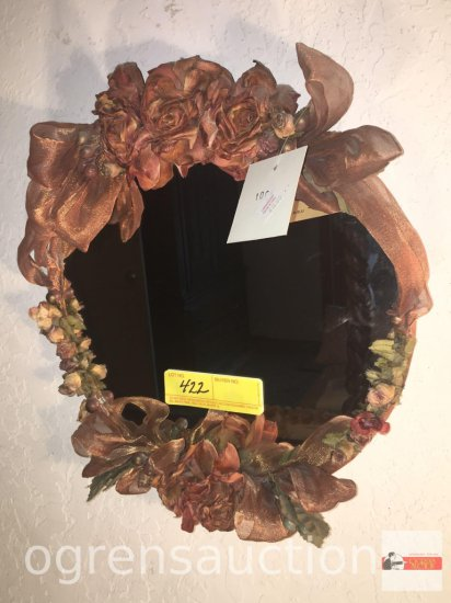 "Decor wall mirror, ornate floral design trim, Mo Original, 13""wx14""h"