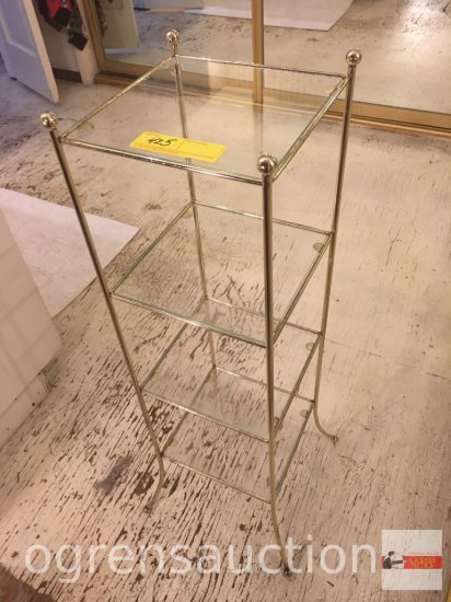 "Square vanity stand, 4 glass shelves, 33""hx12""wx12""w"