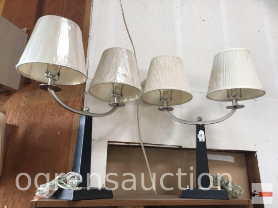 2 double arm table lamps with shades