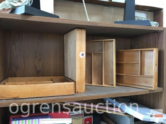 4 wooden flatware/ desk drawer caddy, some dovetailed