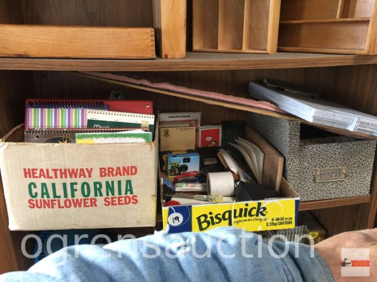 Office - storage box, labels, camera, pencils, writing box, binders, spiral notebooks etc.
