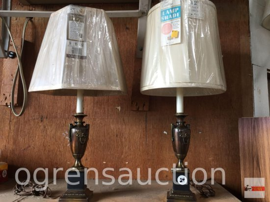 "2 Metal based candlestick table lamps, new shades, 27""h"