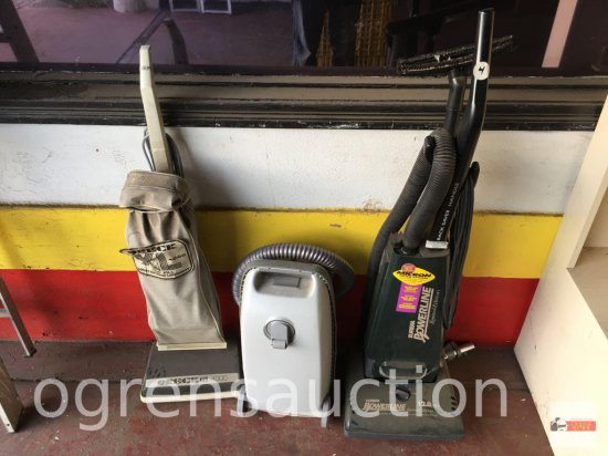 3 Vacuum cleaners - Oreck xl4000, Eureka Powerline, Kenmore canistser