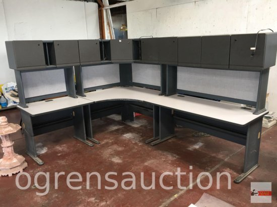 Office - 6 pc. modular desk unit, lighted