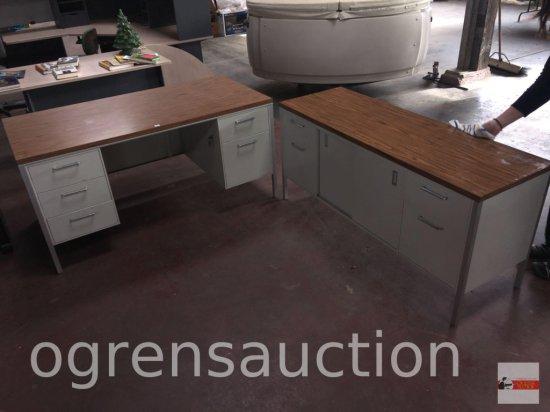 """Office - Harper's Desk & matching credenza- metal - Desk 5 drawer w/keys, 60""""wx30""""dx29""""h, Credenza"""