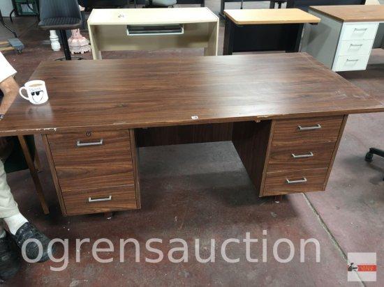 """Office - Desk - 5 wood w/veneer 5 drawer, 71.5""""wx35.5""""dx29""""h"""