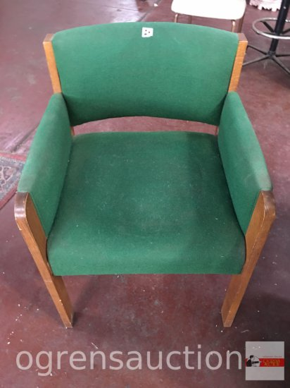 Office - Chair, wood framed upholstered chair, green