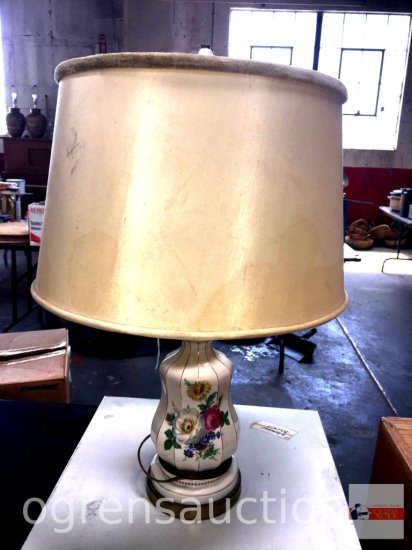 """Lighting - Table lamp - Vintage porcelain floral based lamp, 26""""hx6""""w base, 16""""w drum shade, double"""