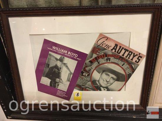 "Ephemera - 2 vintage cowboy songbooks, framed, William Boyd & Gene Autry, 26""wx20""h"