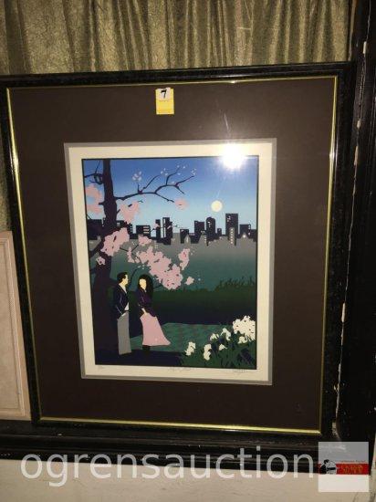 "Artwork - Large 1988 Original Serigraph print, ""Morning Mist"" pencil signed Jill Kirkham #16/200"