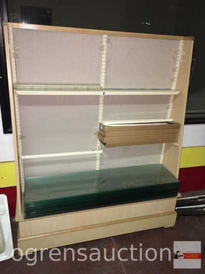 """Display store end cap shelf cabinet, 52.5""""wx62""""hx13""""d, adjustable and 3 glass shelves 52""""w"""