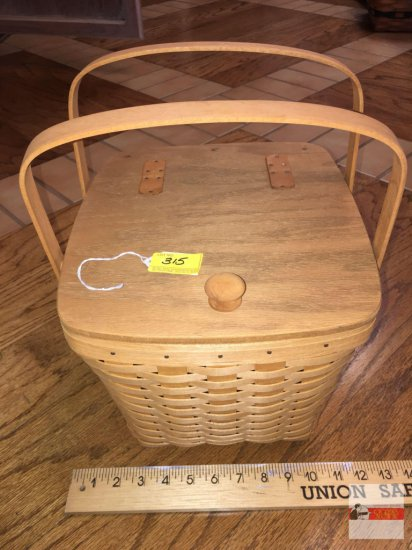 Longaberger Baskets - Handwoven, Dresden, Ohio, USA 1993 signed double handled lift top, plastic