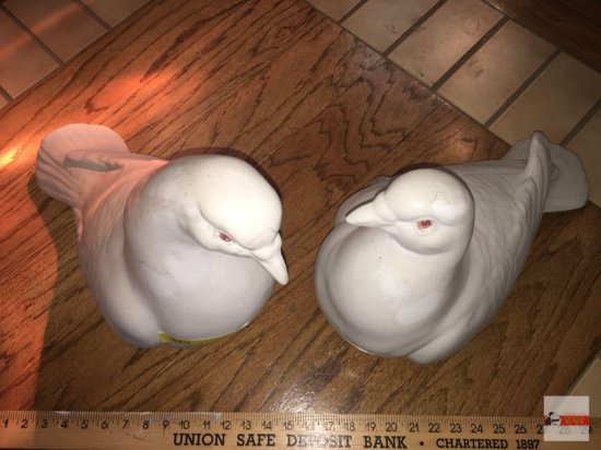 "Ceramic Doves, pair lg. figures, 13""h & 15""h"