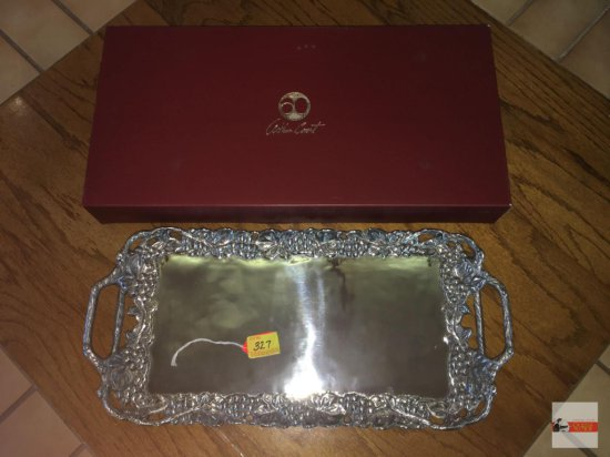 "Arthur Court - 2011 Grape serving tray, double handles, 21.5""wx10.5""w, orig. box marked $125.00"