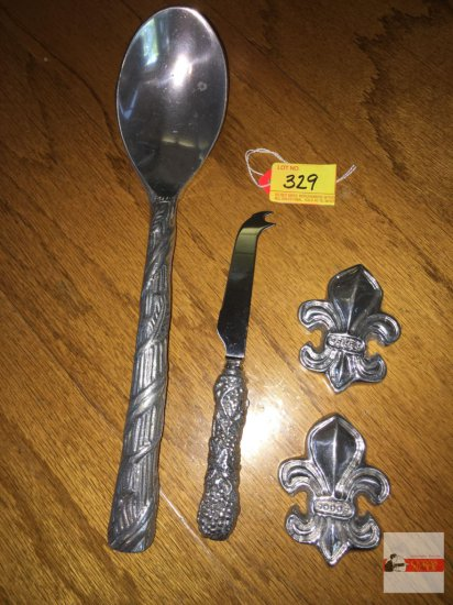 "4 Ornate aluminum serving ware - spoon 13"", cheese knife 8"", 2 flur de lis emblems 3.5"""
