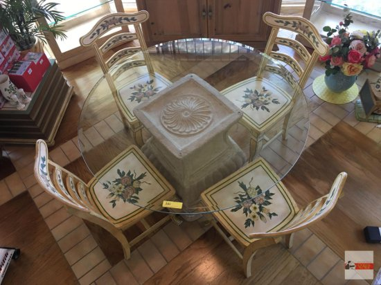 "Table & 4 Chairs - 48"" beveled glass top, lg. pedestal table w/ 4 floral accented wood side chairs"