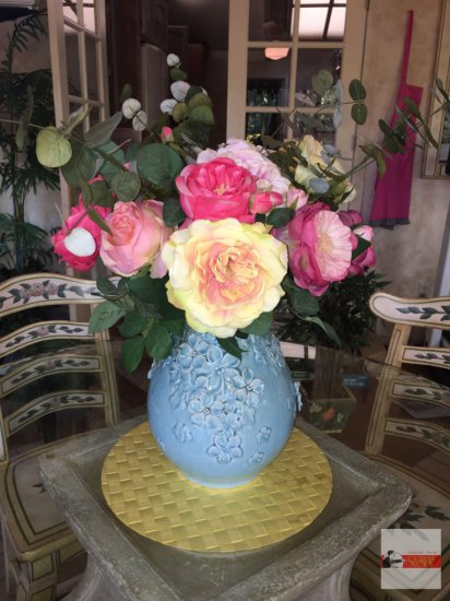 "Vase - Beautiful relief blue vase 11""h with artificial roses 22""h"