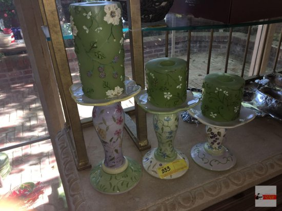 3 Capriware Candle holders, hand painted