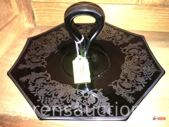 Glassware - Vintage Black amethyst handled octagon serving dish with heavy sterling overlay