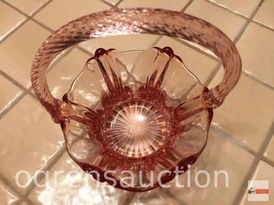 Glassware - Fenton Pink glass, handled basket, marked