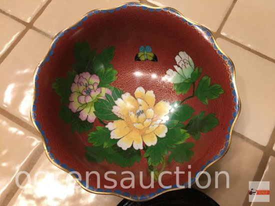 """Bowl - Cloisenne' bowl 7""""wx2.5""""h on Asian display stand 5""""wx1.5""""h, Republic of China"""