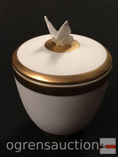 """Porcelain cup w/butterfly lid, gold trim, candle inside, 5'hx3.5""""w"""